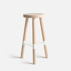 Connect bar stool in raw look oak with white footrest