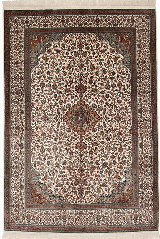 1245 - Stunning Kashmir (Indian) Hand Knotted Pure Silk Rug - 120 X 200cm
