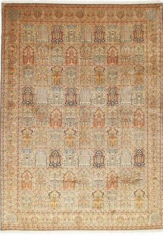 1202 - Stunning Kashmir (Indian) Hand Knotted Pure Silk Rug - 200 X 300cm