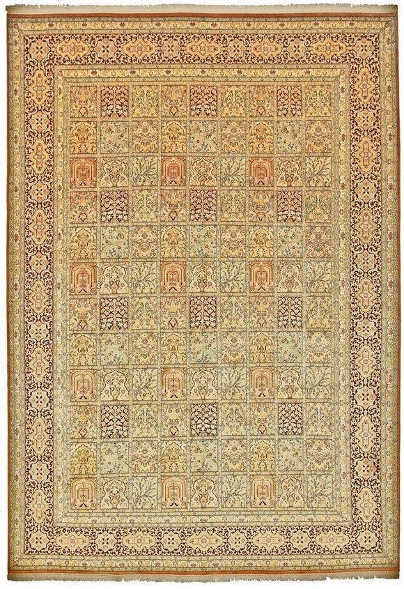 1531 - Stunning Kashmir (Indian) Hand Knotted Pure Silk Rug - 200 X 300cm