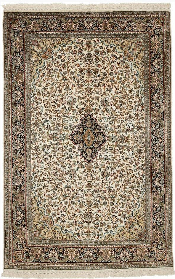 1371 - Stunning Kashmir (Indian) Hand Knotted Pure Silk Rug - 170 X 240cm