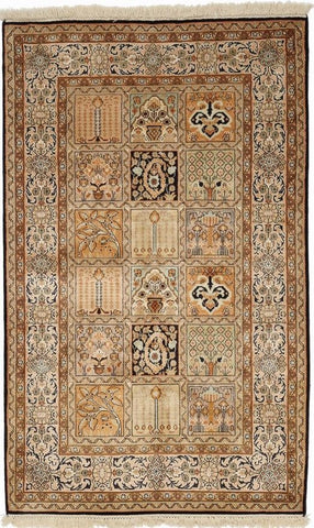1323 - Stunning Kashmir (Indian) Hand Knotted Pure Silk Rug - 100 X 150cm