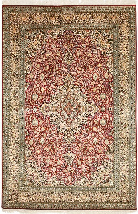 1771 - Stunning Kashmir (Indian) Hand Knotted Pure Silk Rug - 120 X 200cm