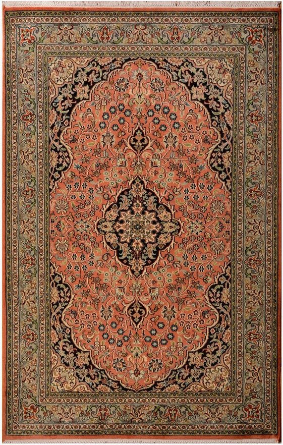 1501 - Stunning Kashmir (Indian) Hand Knotted Pure Silk Rug - 120 X 200cm