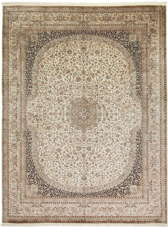 1517 - Stunning Kashmir (Indian) Hand Knotted Pure Silk Rug - 300 X 400cm