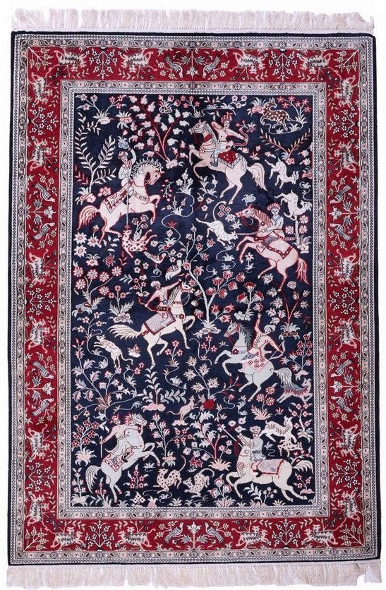1524 - Stunning Kashmir (Indian) Hand Knotted Pure Silk Rug - 100 X 150cm