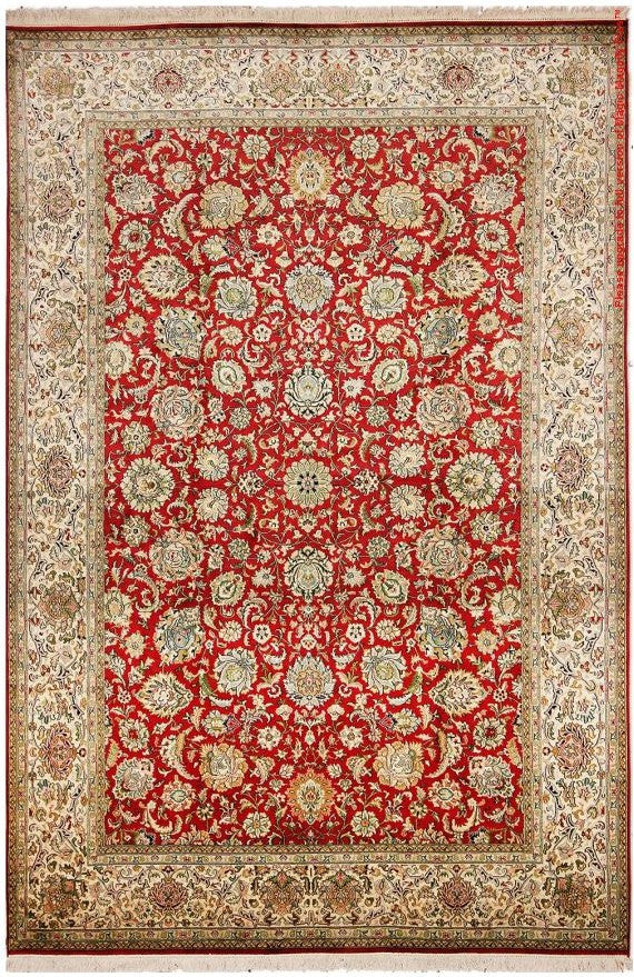 1232 - Stunning Kashmir (Indian) Hand Knotted Pure Silk Rug - 200 X 300cm