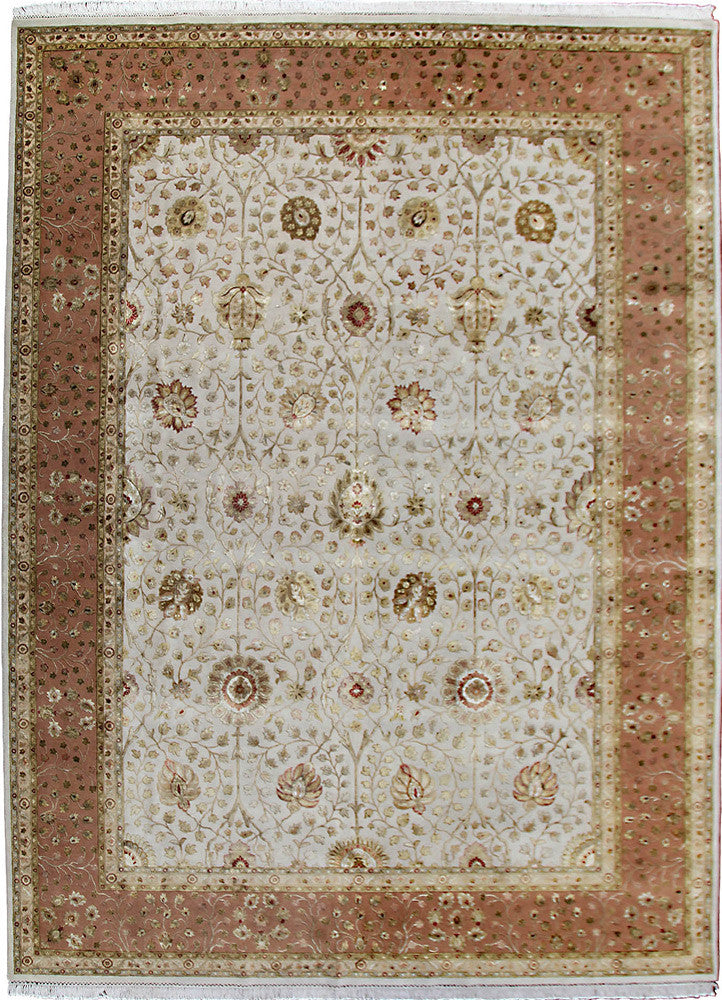 1830 - Stunning Kashmir (Indian) Hand Knotted Wool and Silk Rug - 200 X 300cm (other sizes available)
