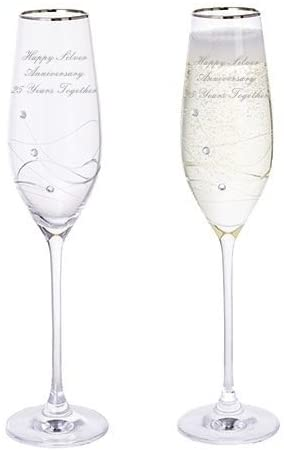 Dartington Silver Anniversary Glitz Pair of Champagne Flutes Glasses with Crystals & Silver Rim - 25 Years Together