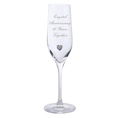 Chichi Gifts 2 Crystal Anniversary 15 Years Together Pair of Dartington Champagne Flutes Glasses with Crystal Heart Gem