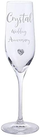 Crystal Wedding Anniversary Pair of Dartington Crystal Champagne Glasses with Crystal Heart Gem