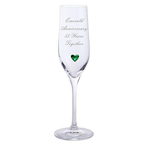 Chichi Gifts 2 Emerald Anniversary 55 Years Together Pair of Dartington Champagne Flutes Glasses with Emerald Heart Gem