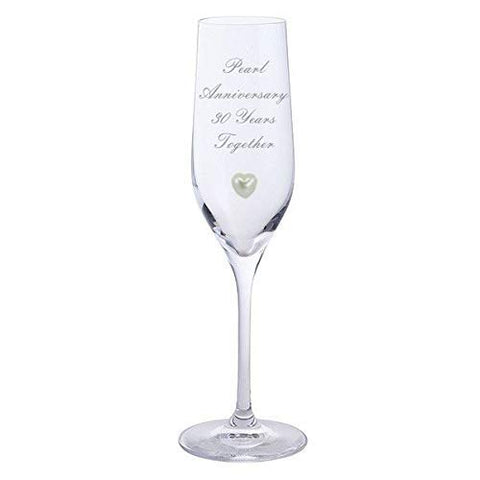 Chichi Gifts 2 Pearl Anniversary 30 Years Together Pair of Dartington Champagne Flutes Glasses with Pearl Heart Gem