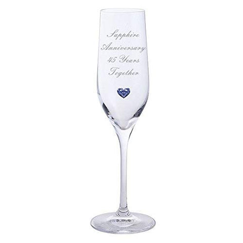 Chichi Gifts 2 Sapphire Anniversary 45 Years Together Pair of Dartington Champagne Flutes Glasses with Sapphire Heart Gem