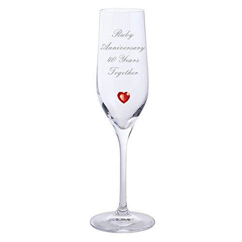 Chichi Gifts 2 Ruby Anniversary 40 Years Together Pair of Dartington Champagne Flutes Glasses with Ruby Heart Gem