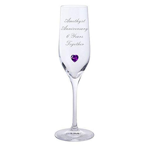 Chichi Gifts 2 Amethyst Anniversary 6 Years Together Pair of Dartington Champagne Flutes Glasses with Amethyst Heart Gem