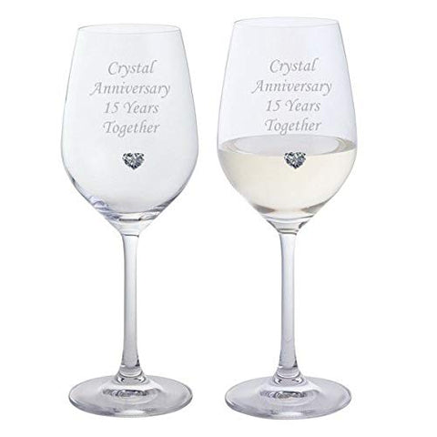 Chichi Gifts 2 Crystal Anniversary 15 Years Together Pair of Dartington Crystal Wine Glasses with Crystal Heart Gem