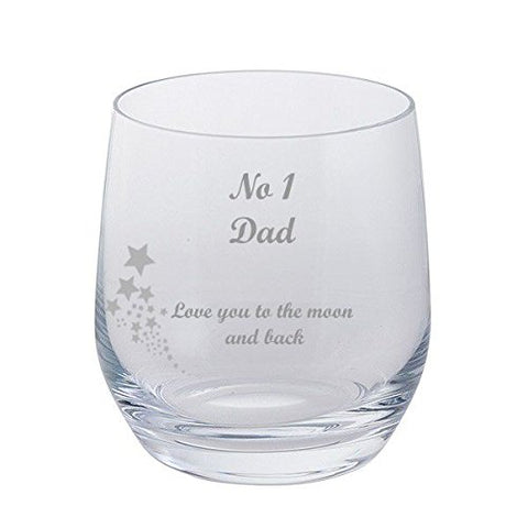 No 1 Dad, Love you to the moon and back - Dartington Crystal Tumbler Glass with Stars - Fathers Day, Birthday, Christmas Gift