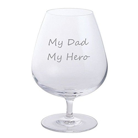 Father's Day Dartington Brandy Glass (My Dad My Hero)