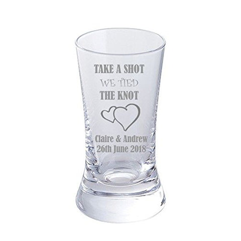 Dartington Personalised Set of 6 Take a Shot We Tied the Knot - Wedding Favour Shot Glasses Add bride & groom's names