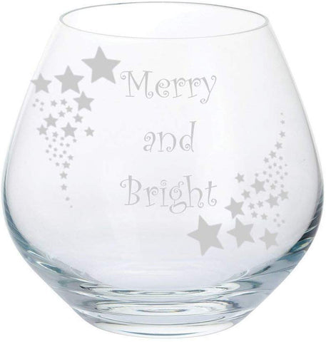 Dartington Christmas Set of 6 Stemless Party Gin & Tonic Copa Glasses with Christmas quotes and Stars