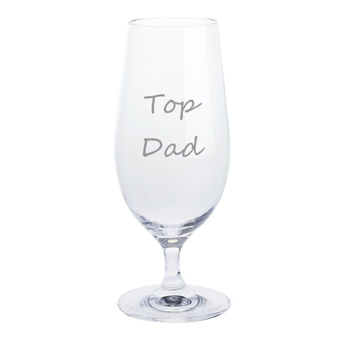 Father's Day Stemmed Pilsner Lager Glass (Top Dad)