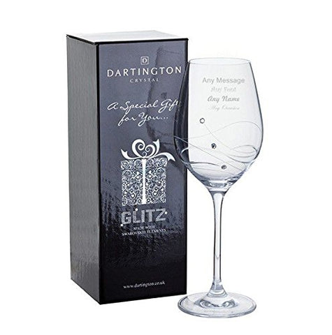 Personalised Dartington Any Occasion Glitz Wine Glass with Crystals - Add Your Own Message