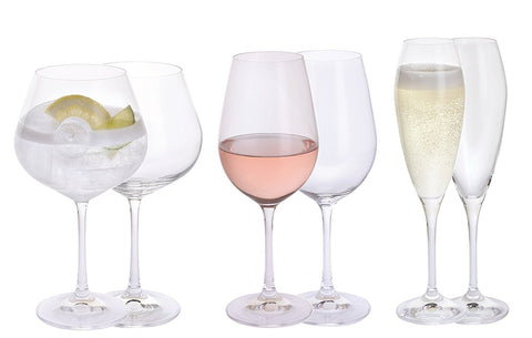 Personalised Dartington Set of 6 Ladies' Night Glasses Gin Copa, Prosecco & Wine - Add Your Own Messages