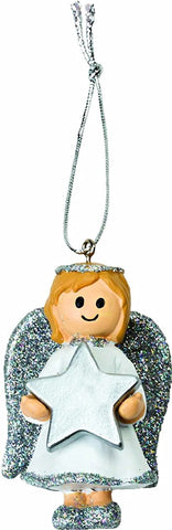 Personalised Cute Silver Girl Angel Christmas Tree Decoration with Name