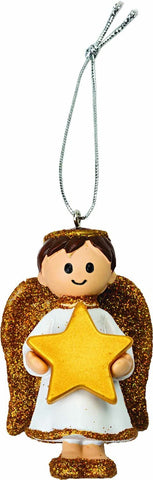 Personalised Cute Gold Boy Angel Decoration Ornament Bauble with Name