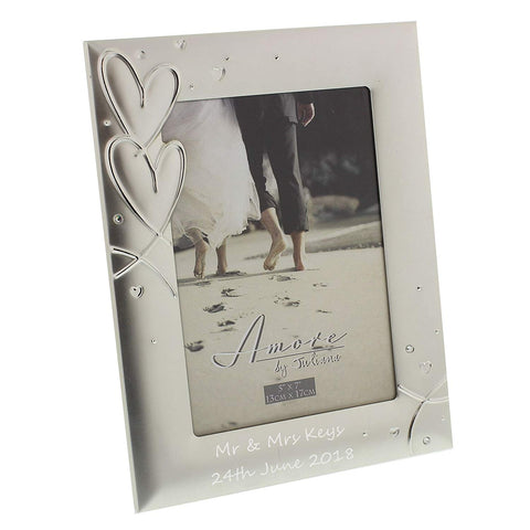"Personalised - 4"" x 6"" Juliana hearts & crystals Wedding Photo Frame - Add your own special message"