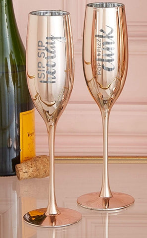 Two's Company Personalised Set of 2 Metallic Rose Gold Champagne Flutes Glasses - Sip Sip Hooray & Pop Fizz Clink - Add Your Own Message to the back