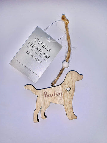 Gisela Graham Personalised Wooden Dog Hanging Plaque Christmas Decoration - Add your dogs name
