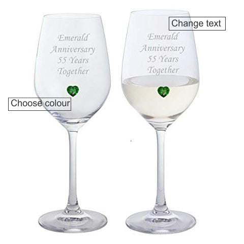 Chichi Gifts Bespoke Anniversary Pair of Dartington Wine Glasses with Crystal Heart Gem