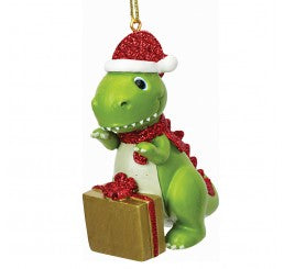Personalised Cute Dinosaur Decoration Ornament Bauble with name