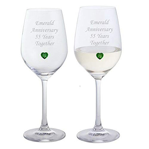 Pair of Emerald Anniversary Dartington Wine Glasses