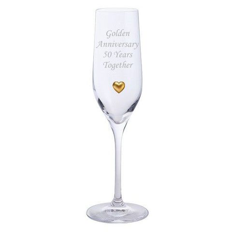 Dartington 2 Golden Anniversary 50 Years Together Pair of Champagne Flutes Glasses with Golden Heart Gem