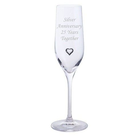 Dartington 2 Silver Anniversary 25 Years Together Pair of Champagne Flutes Glasses with Silver Heart Gem