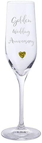 Golden Wedding Anniversary Pair of Dartington Crystal Champagne Glasses with Gold Heart Gem