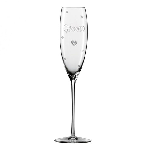 Personalised Wedding Groom Champagne Glass Flute with Crystal Heart, Crystals and Stem Charm