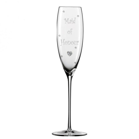 Personalised Wedding Maid of Honour Champagne Glass Flute with Crystal Heart, Crystals and Stem Charm …
