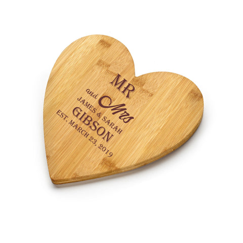 Chichi Gifts Personalised Mr and Mrs Heart Bamboo Chopping Board/Cheeseboard with Names and Date FREE ENGRAVING