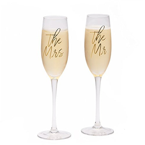 Two's Company Personalised The Mr & The Mrs Wedding Champagne Glasses Flutes, Cheers to Us - Add Your Own Message