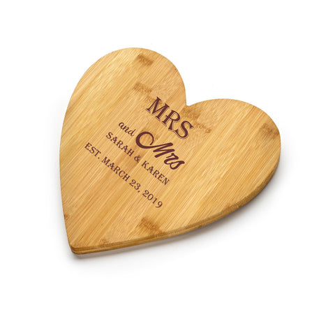 Chichi Gifts Personalised Mrs and Mrs Wedding Heart Bamboo Chopping Board/Cheeseboard with Names and Date FREE ENGRAVING