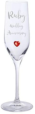 Ruby Wedding Anniversary Pair of Dartington Crystal Champagne Glasses with Ruby Heart Gem