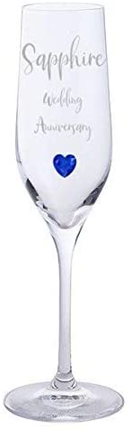Sapphire Wedding Anniversary Pair of Dartington Crystal Champagne Glasses with Sapphire Heart Gem