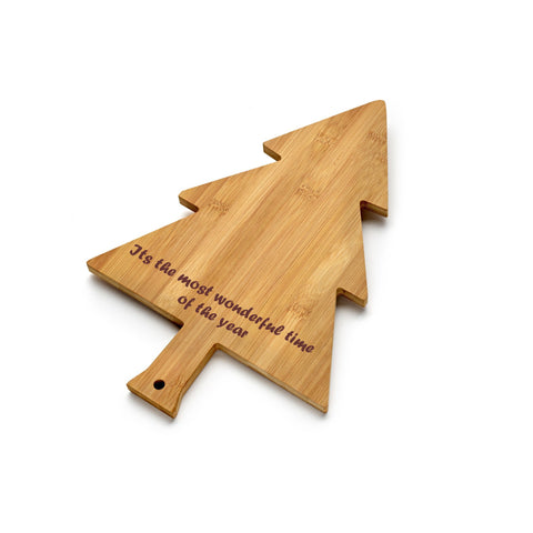 Chichi Gifts Personalised Christmas Tree Bamboo Chopping Board/Cheeseboard Its The Most Wonderful Time Of The Year FREE ENGRAVING