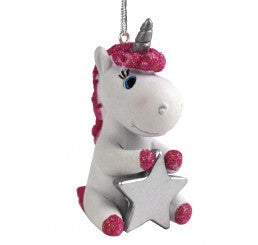Personalised Cute Unicorn Decoration Ornament Bauble with name