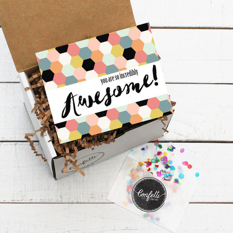 Gift Box with You Are So Incredibly Awesome Card and Confetti