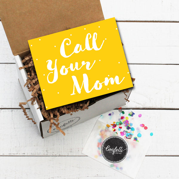 Gift Box with Call Your Mom Card and Confetti